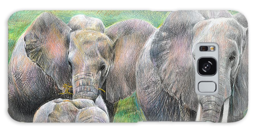 Elephant Galaxy Case featuring the drawing Family Outing by Arline Wagner