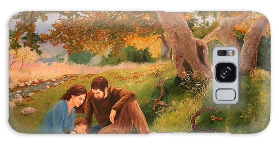 Family Galaxy S8 Case featuring the painting Family Portrait Under A Tree by Alan Schwartz
