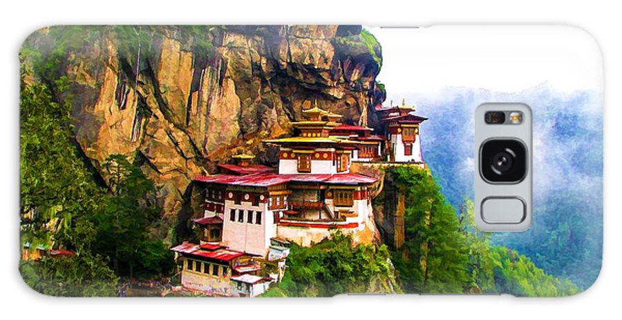 Famous Tigers Nest Monastery Of Bhutan Galaxy S8 Case featuring the painting Famous Tigers Nest Monastery Of Bhutan 11 by Jeelan Clark