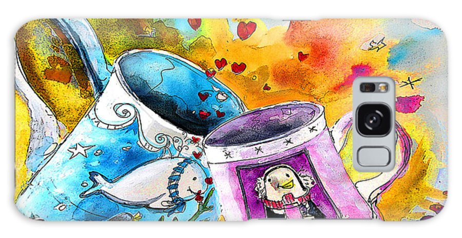 Cafe Crem Galaxy Case featuring the painting Fancy A Coffee by Miki De Goodaboom