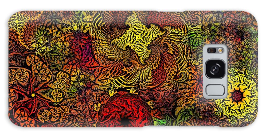Abstract Digital Painting Galaxy S8 Case featuring the digital art Fantasy Flowers Woodcut by David Lane