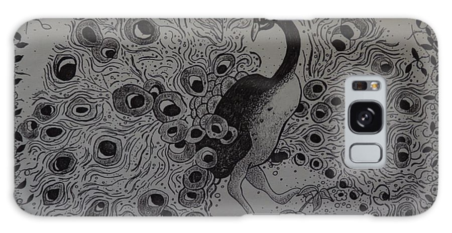 Peacock Tail Bird Fantasy Dream Pattern Grace Black And White Ink Drawing Galaxy S8 Case featuring the drawing Fantasy Peacock by Catherine Robertson
