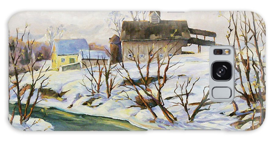 Farm Galaxy S8 Case featuring the painting Farm In Winter by Richard T Pranke