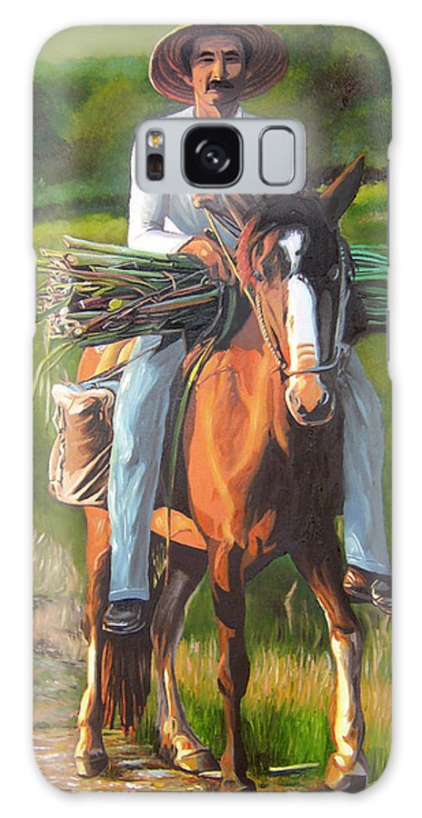 Cuban Art Galaxy Case featuring the painting Farmer On A Horse by Jose Manuel Abraham