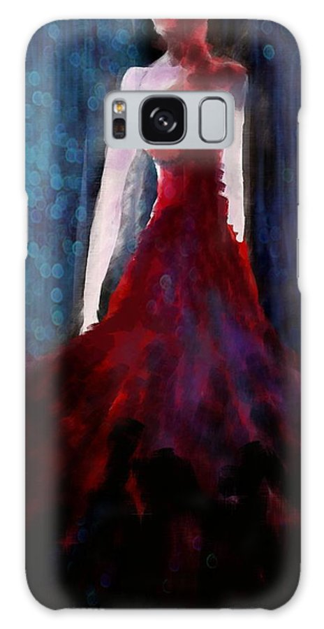Fashion Galaxy S8 Case featuring the digital art Fashion Illustration Red by Khushbu Rangari