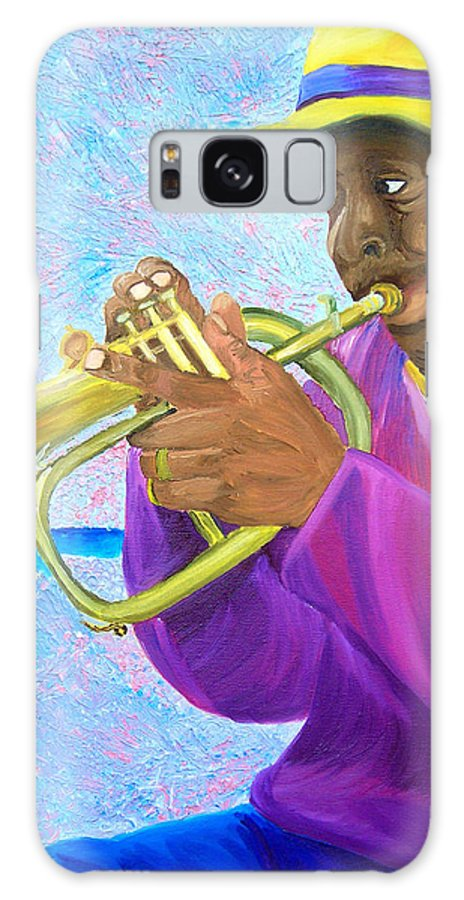 Street Musician Galaxy S8 Case featuring the painting Fat Albert Plays The Trumpet by Michael Lee
