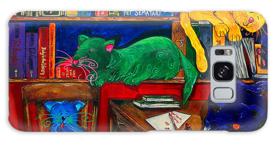 Cats Galaxy S8 Case featuring the painting Fat Cats In The Library by Patti Schermerhorn