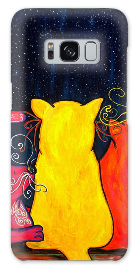 Cats Galaxy S8 Case featuring the painting Fat Cats Star Gazing by Patti Schermerhorn