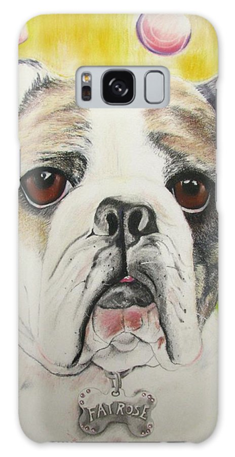 Dog Painting Galaxy S8 Case featuring the pastel Fat Rose by Michelle Hayden-Marsan