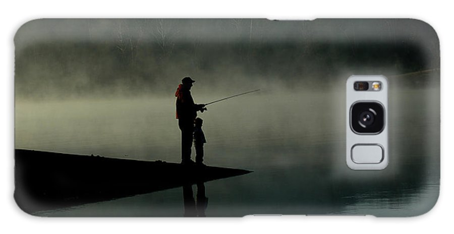 Father Galaxy S8 Case featuring the photograph Father And Son Fishing by Shawn Wood