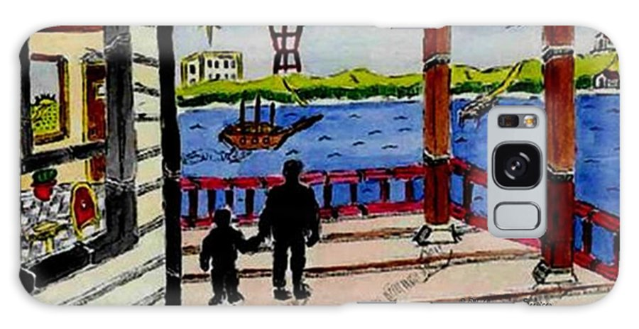 Boy Galaxy S8 Case featuring the painting Father And Son On The Porch by Anthony Benjamin
