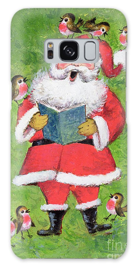 Christmas Galaxy S8 Case featuring the painting Father Christmas And Robin Chorus by Stanley Cooke