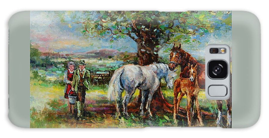 Horses Galaxy S8 Case featuring the painting Feeding Time by Jacinta Crowley-Long