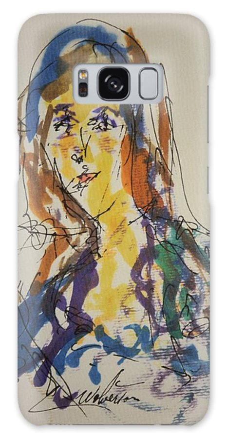 Portrait Galaxy S8 Case featuring the painting Female Face Study Bb by Edward Wolverton