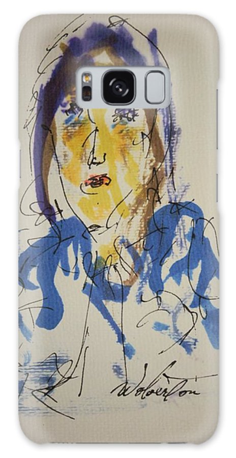 Portrait Galaxy S8 Case featuring the painting Female Face Study O by Edward Wolverton