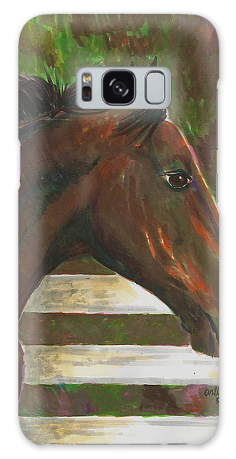 Horse Galaxy S8 Case featuring the painting Fenced In by Arline Wagner