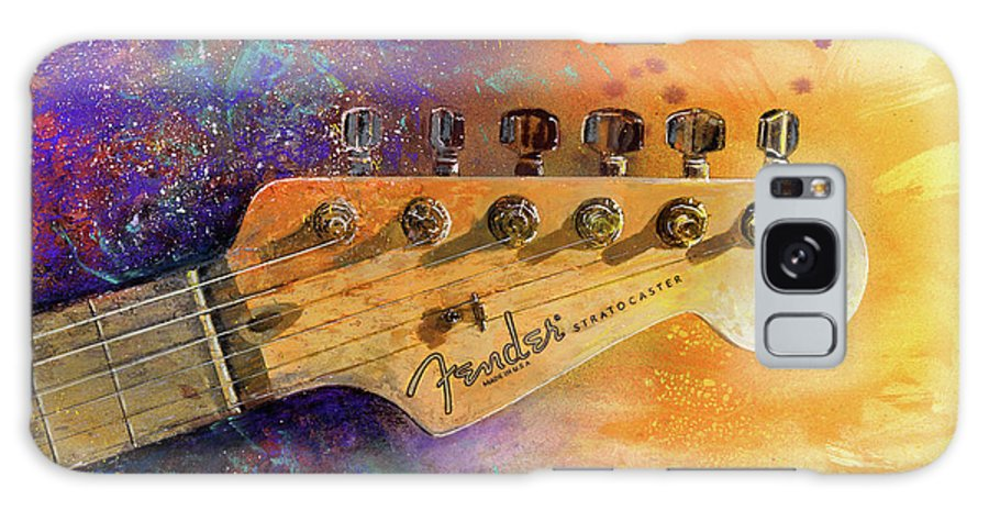 Fender Stratocaster Galaxy Case featuring the painting Fender Head by Andrew King