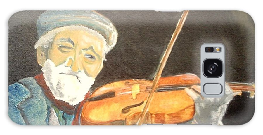 Hungry He Plays For His Supper Galaxy S8 Case featuring the painting Fiddler Blue by J Bauer
