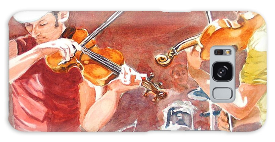 Musicians Galaxy S8 Case featuring the painting Fiddles by Karen Ilari
