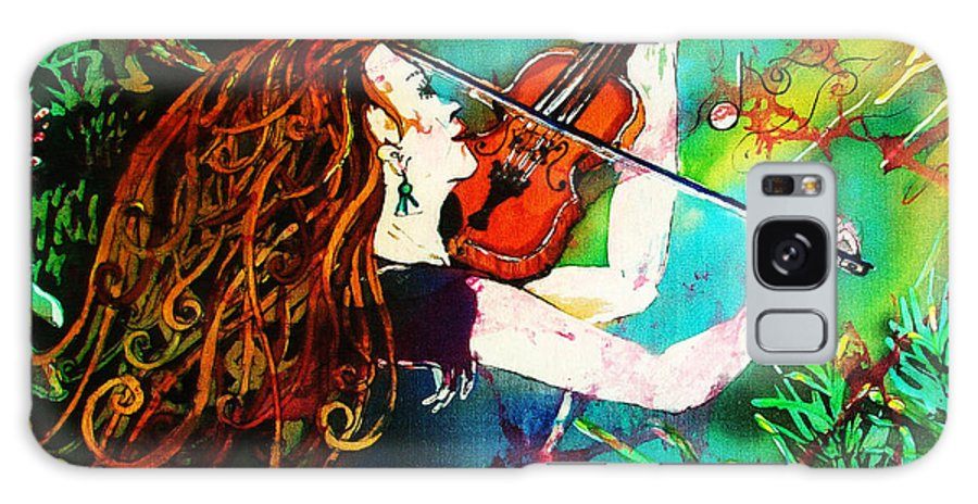 Music Galaxy S8 Case featuring the painting Fiddling Toward The Sun by Sue Duda
