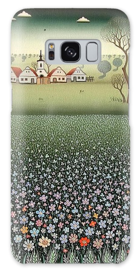 Landscape Galaxy Case featuring the painting Field Of Wildflowers by Ferenc Pataki
