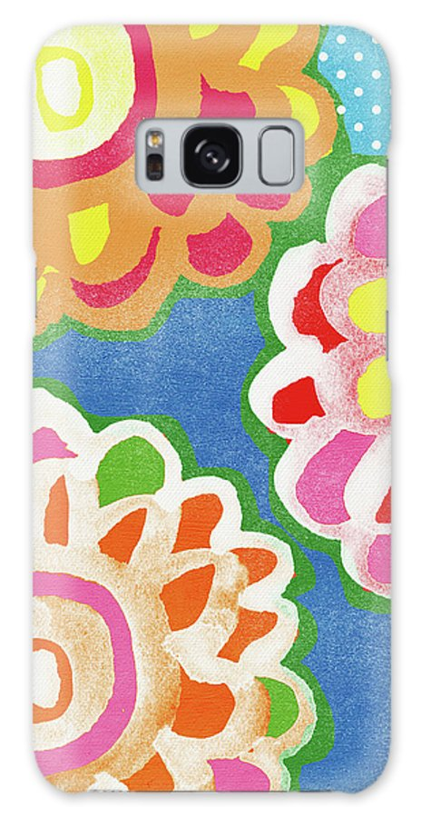 Flowers Galaxy Case featuring the mixed media Fiesta Floral 3- Art By Linda Woods by Linda Woods