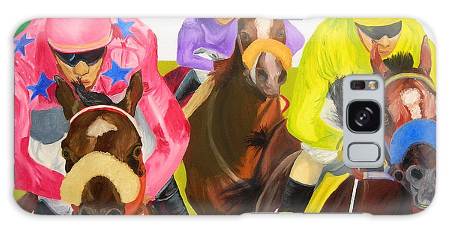 Horse Racing Galaxy S8 Case featuring the painting Finish Line by Michael Lee