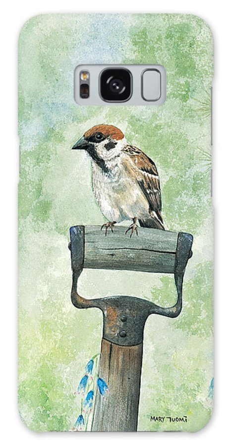 Bird Galaxy S8 Case featuring the painting Finnish Dotted Cheek Sparrow by Mary Tuomi