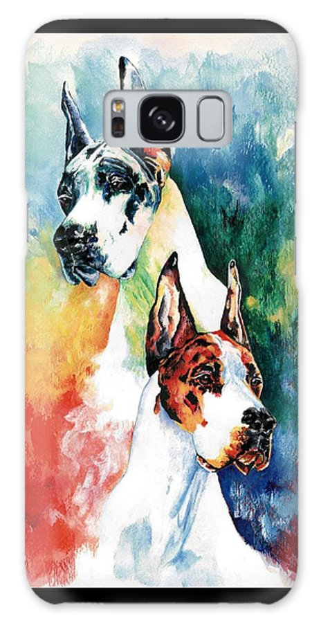 Great Dane Galaxy S8 Case featuring the painting Fire And Ice by Kathleen Sepulveda