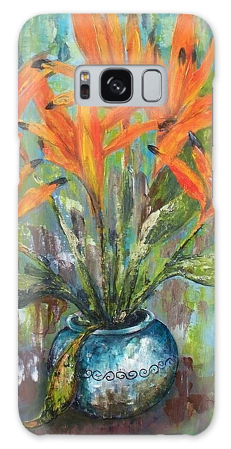Galaxy S8 Case featuring the painting Fire Flowers by Carol P Kingsley
