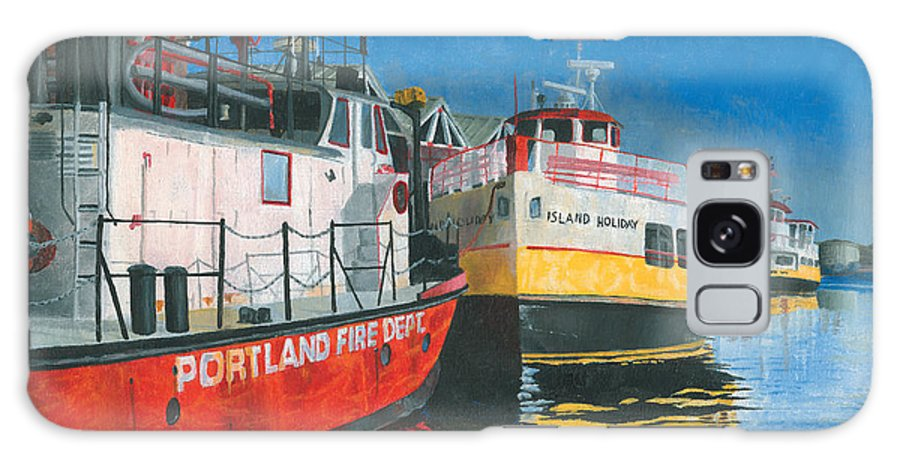 Fireboat Galaxy S8 Case featuring the painting Fireboat And Ferries by Dominic White