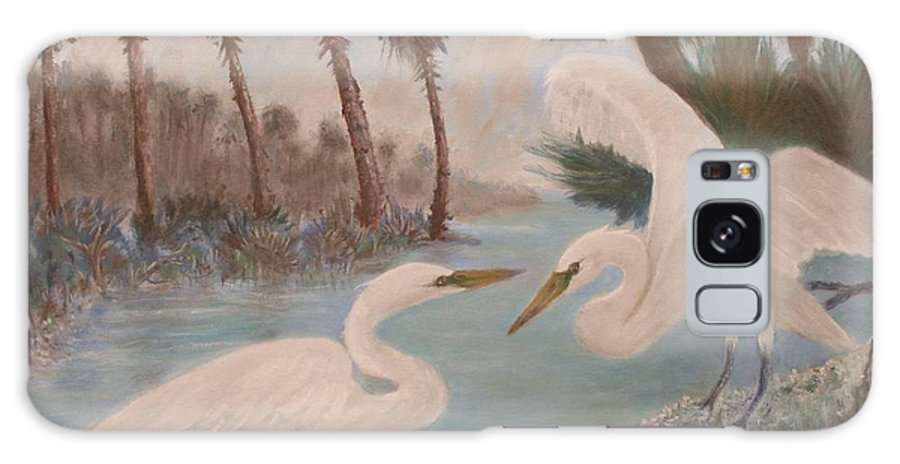 Egret Galaxy S8 Case featuring the painting First Meeting by Ben Kiger