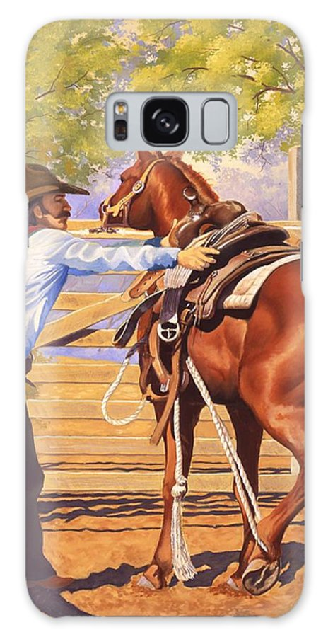 Cowboy Galaxy Case featuring the painting First Saddling by Howard Dubois