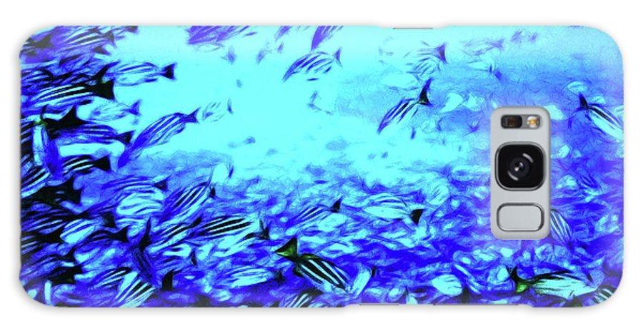 Coral Galaxy S8 Case featuring the digital art Fish Traffic by Joan Minchak