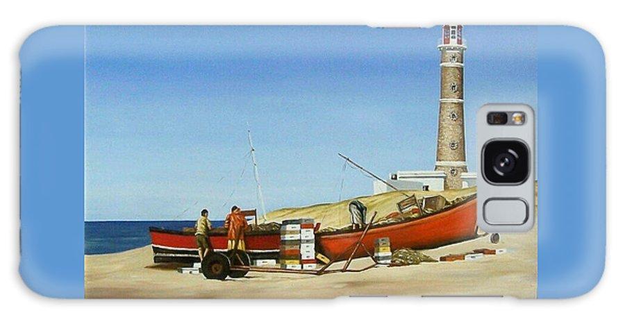 Lighthouse Fishermen Sea Seascape Galaxy S8 Case featuring the painting Fishermen By Lighthouse by Natalia Tejera