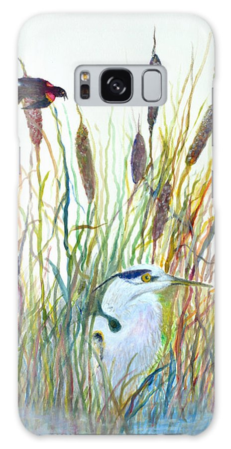 Fishing Galaxy Case featuring the painting Fishing Blue Heron by Ben Kiger
