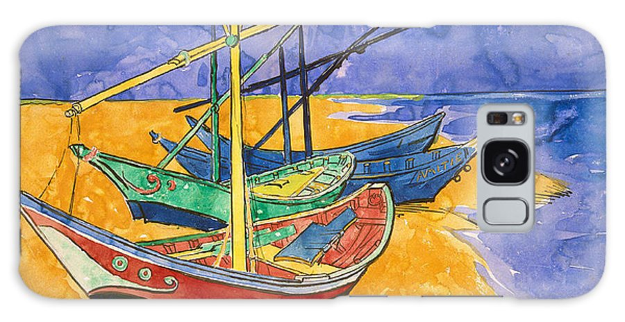 Vincent Van Gogh Galaxy Case featuring the painting Fishing Boats on the Beach at Saintes Maries de la Mer by Vincent Van Gogh