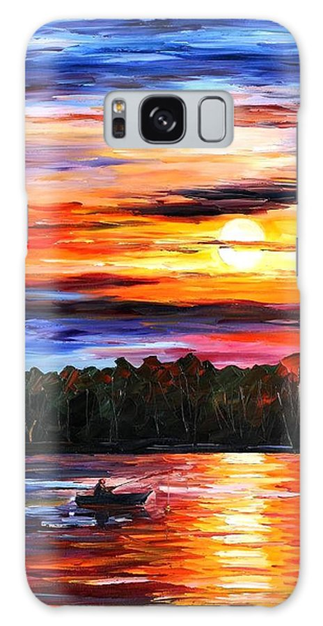 Seascape Galaxy Case featuring the painting Fishing By The Sunset by Leonid Afremov
