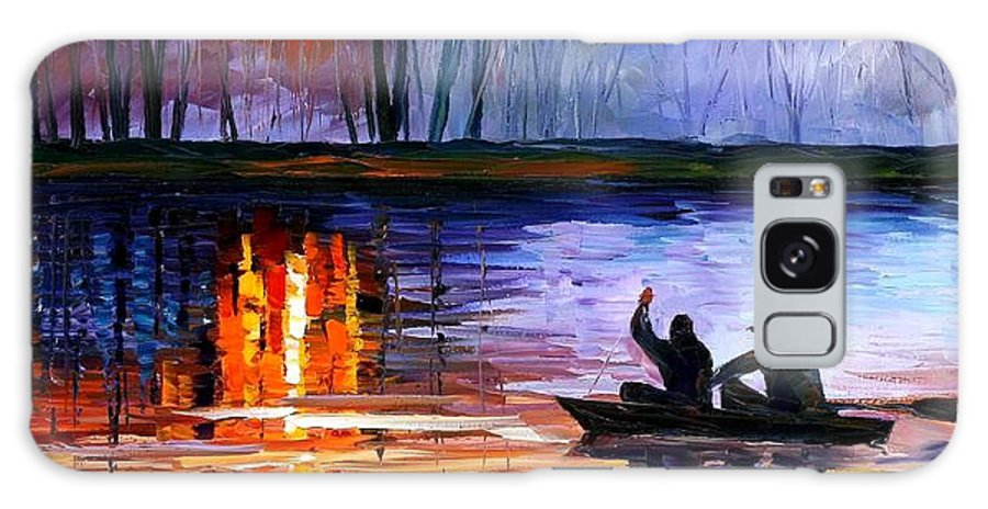 Seascape Galaxy S8 Case featuring the painting Fishing On The Lake by Leonid Afremov