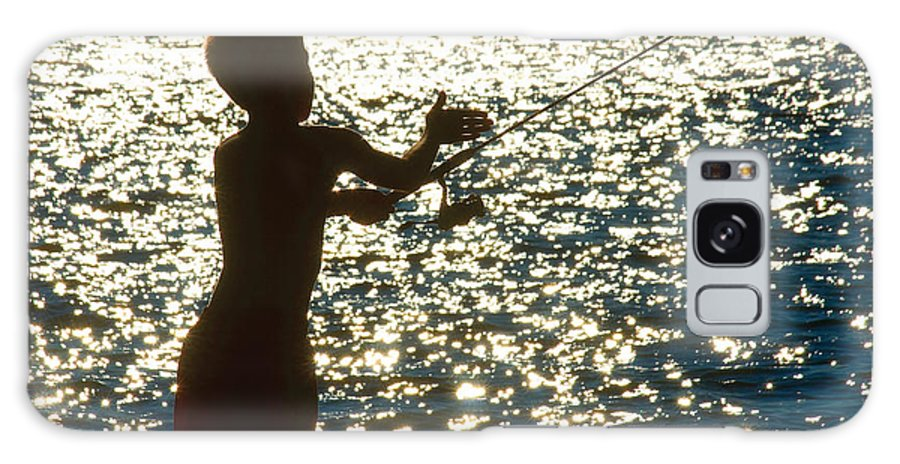 Fishing Galaxy S8 Case featuring the photograph Fishing Silhouette Youngster by Steve Somerville