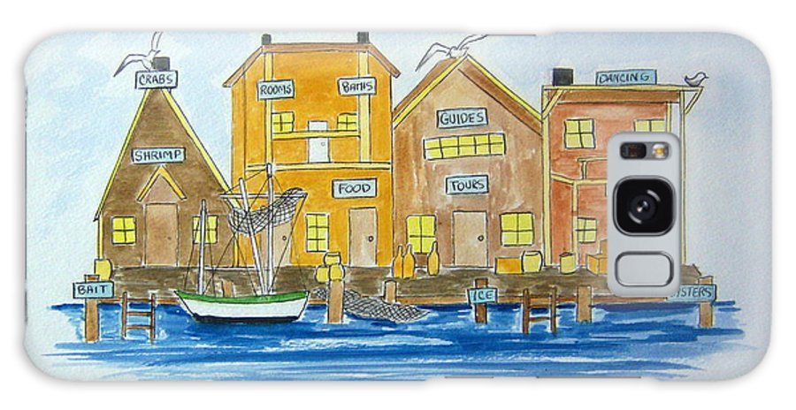 Fishing Galaxy S8 Case featuring the painting Fishing Village 2 by Nancy Nuce