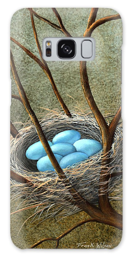 Birds Galaxy S8 Case featuring the painting Five Blue Eggs by Frank Wilson