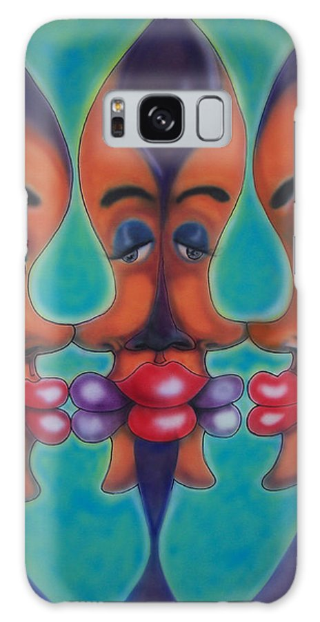 Faces Galaxy S8 Case featuring the painting Five Faces by Douglas Berry
