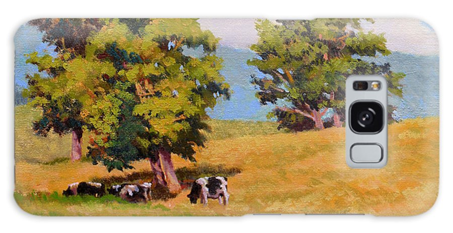 Landscape Galaxy S8 Case featuring the painting Five Oaks by Keith Burgess