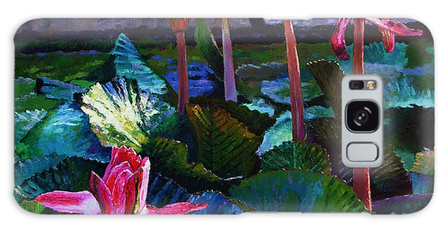 Water Lilies Galaxy Case featuring the painting Five Stages To Beauty by John Lautermilch
