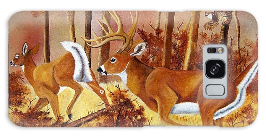 Deer Galaxy S8 Case featuring the painting Flagging Deer by Debbie LaFrance