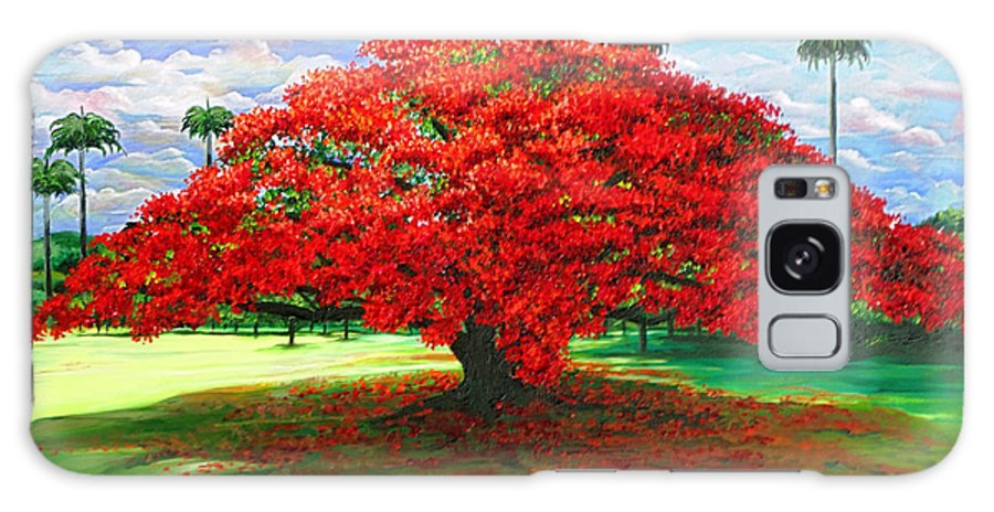 Flamboyant Tree Galaxy Case featuring the painting Flamboyant Ablaze by Karin Dawn Kelshall- Best