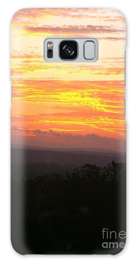 Sunrise Galaxy Case featuring the photograph Flaming Autumn Sunrise by Nadine Rippelmeyer