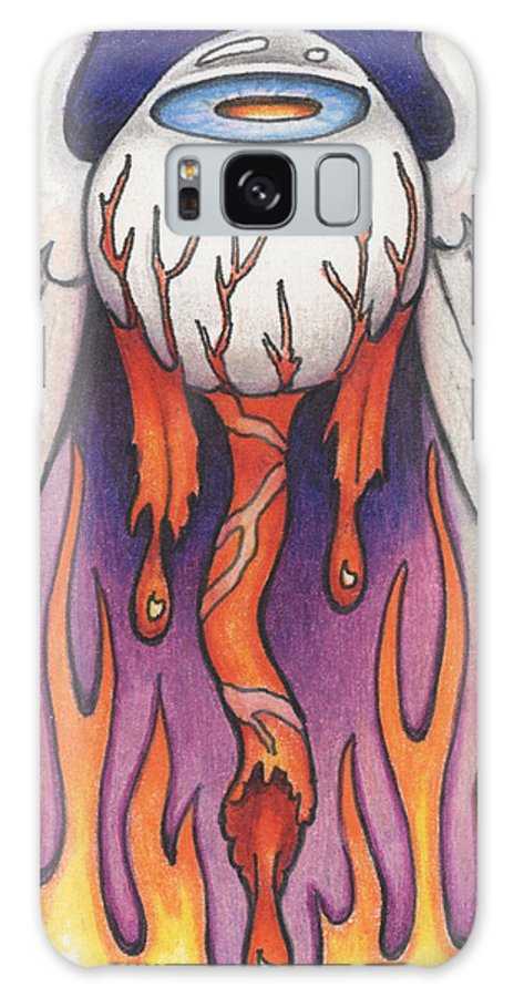 Atc Galaxy S8 Case featuring the drawing Flaming Flying Eyeball by Amy S Turner