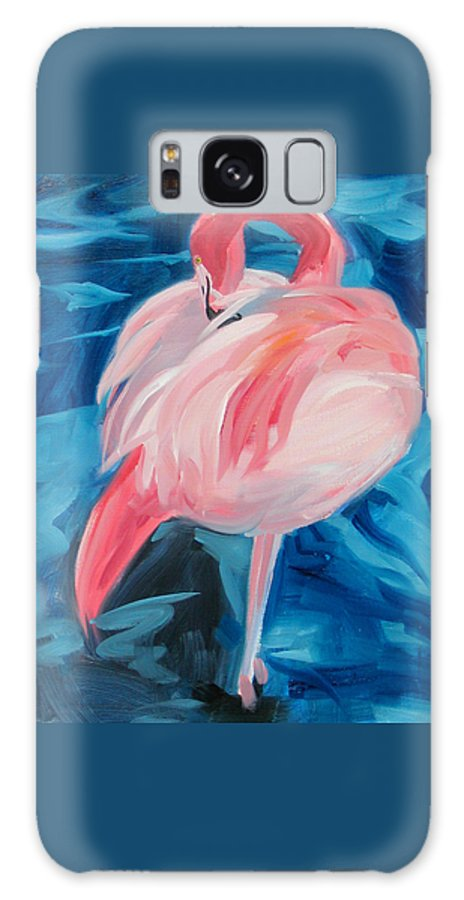 Tropical Galaxy S8 Case featuring the painting Flamingo by Neal Smith-Willow